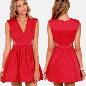 Lulu's Cutout Fit & Flare Mini Dress Red Party S